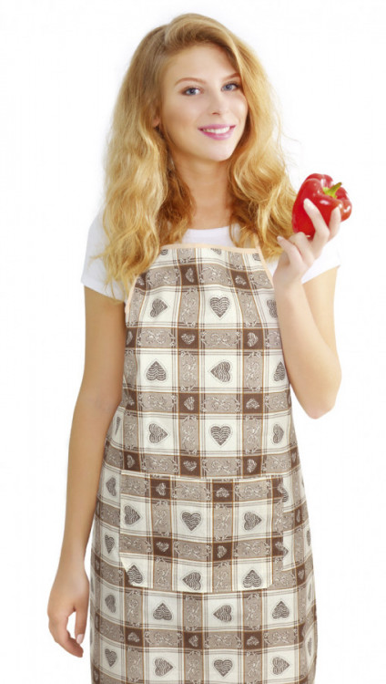 Kuchyňská bavlněná zástěra GITA - Srdce v kostce č.1