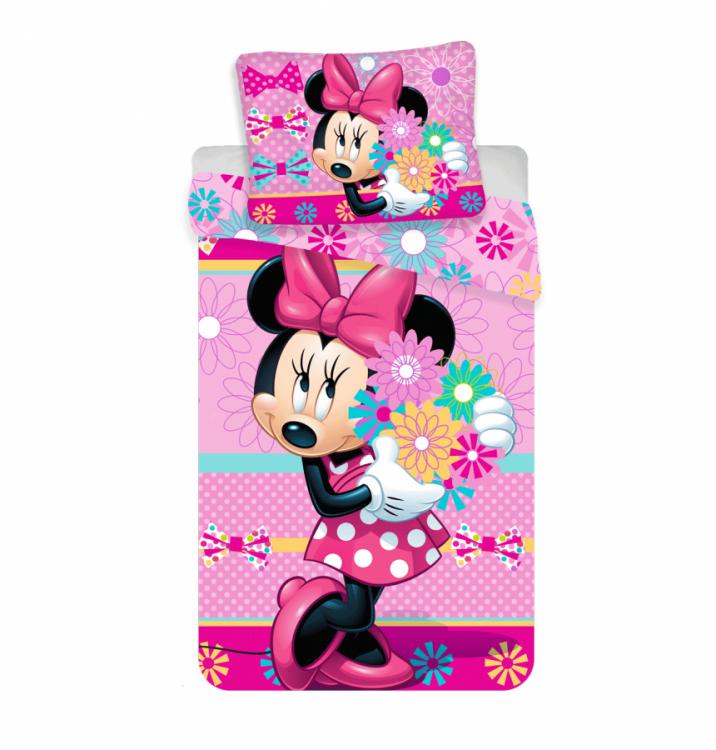 Povlečení bavlna Minnie Bows And Flowers pruhy 140x200 cm a 70x90 cm č.1